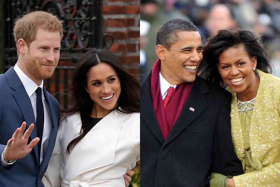ヘンリー王子夫妻とオバマ夫妻【写真:Getty Images】