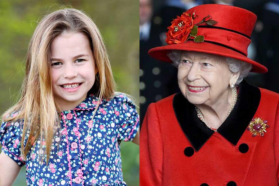 シャーロット王女とエリザベス女王【写真:AP】