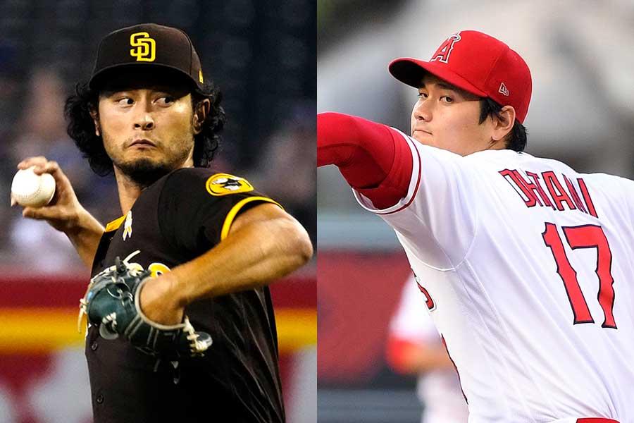ダルビッシュ有投手(左)と大谷翔平選手【写真:AP】