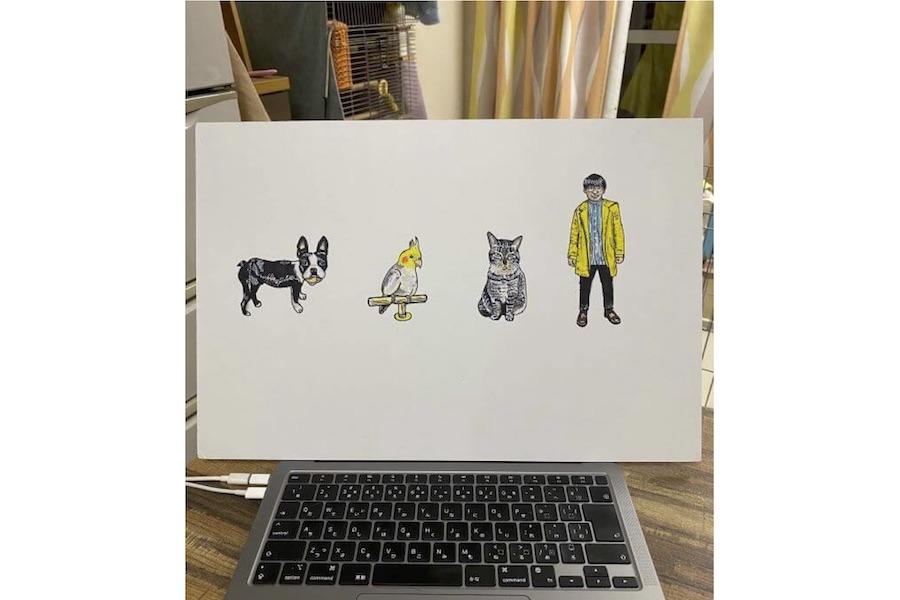 ノビターさんが描いたファミリーのイラスト【写真提供:ノビター(5匹家族)(@00shitemita)さん】