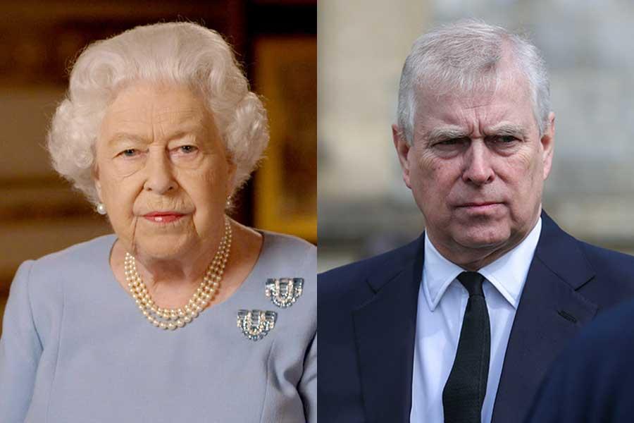 エリザベス女王とアンドリュー王子【写真:AP】