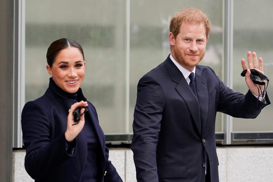 ニューヨークを訪問1日目のヘンリー王子とメーガン妃【写真:AP】
